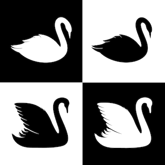 Силуэт лебедя
