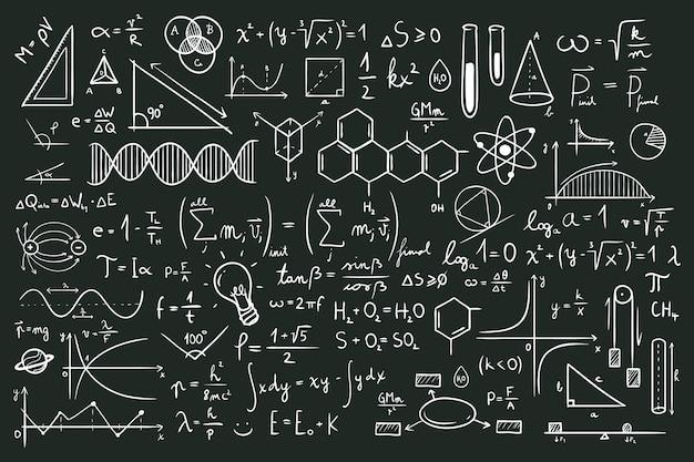 Ручной обращается научные формулы на доске