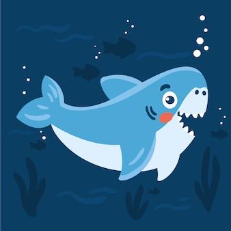 Плоская маленькая акула в мультяшном стиле
