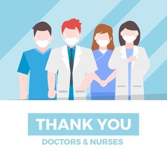 Иллюстрированные врачи и медсестры с благодарственной надписью
