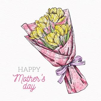 母の日のための手描きの花の花束