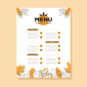 Шаблон меню винтаж здоровой пищи