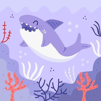 Милая маленькая акула в плоском дизайне