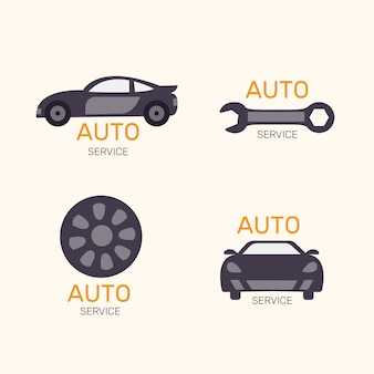 フラットなデザインの車のロゴコレクション