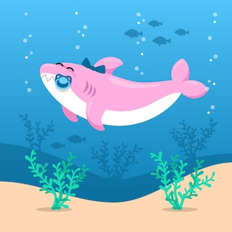 Плоский дизайн детская акула в мультяшном стиле