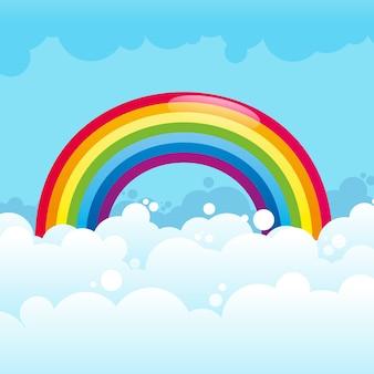 イラストの雲の中の光沢のある虹