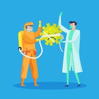 医者とコロナウイルスのイラストを止める