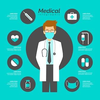 Медицинская инфографика с доктором