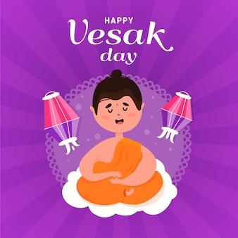 Счастливый весак день с монахом