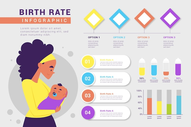 Рождаемость инфографики с аналитикой