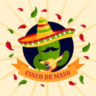 Плоский дизайн концепция синко де майо