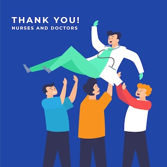 医師と看護師にメッセージをありがとう