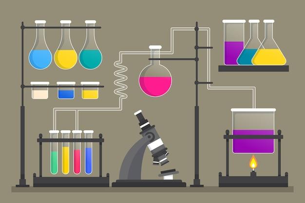 Плоский дизайн элементы научной лаборатории
