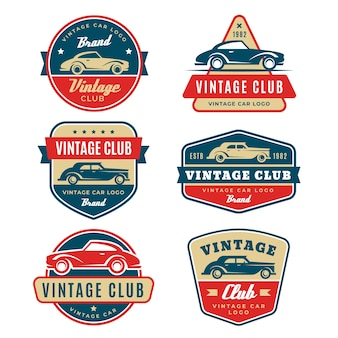 ビンテージデザイン車のロゴコレクション