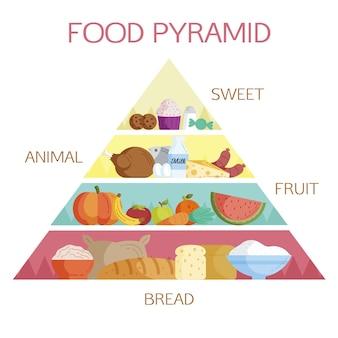 さまざまな種類の栄養物を含む食品ピラミッド