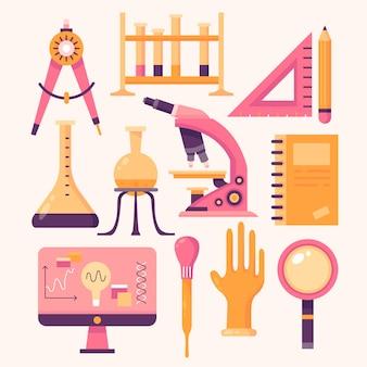Оранжевые и розовые объекты научной лаборатории