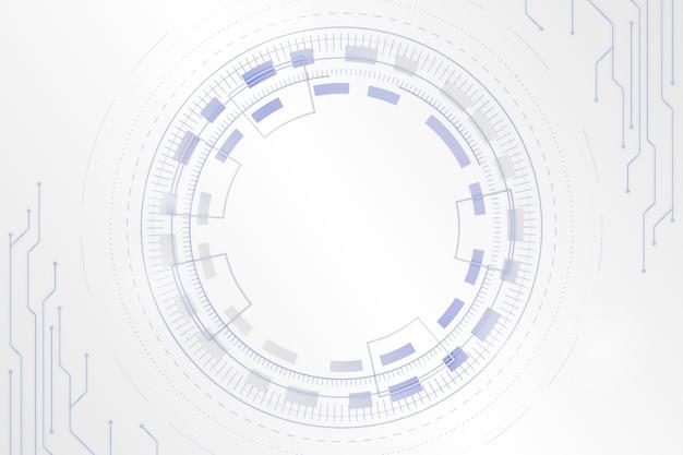 デジタルの目で白い未来的な背景