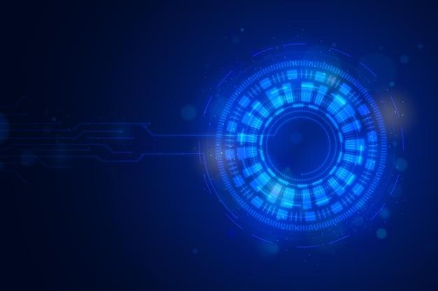 デジタルの目で青い未来的な背景