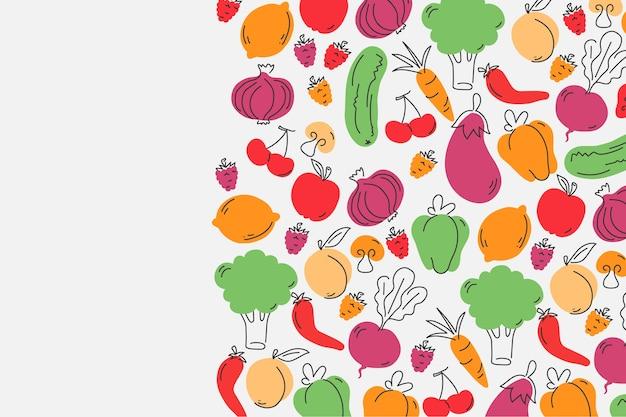 Фрукты и овощи копируют космический фон
