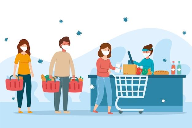 コロナウイルスとスーパーマーケットの人々のコンセプト