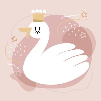 Концепция иллюстрации принцессы лебедя