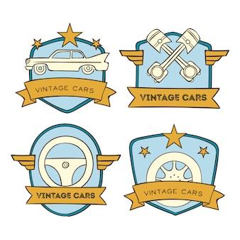 Набор старинных автомобилей с логотипом