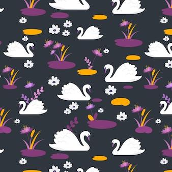 Узор с белым лебедем и цветами