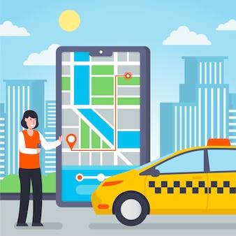 タクシーモバイルアプリサービスとクライアント