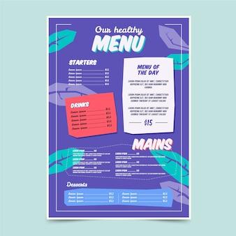 カラフルな健康食品レストランメニューテンプレート