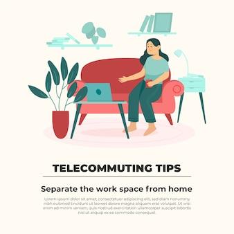 在宅勤務のヒントのコンセプト