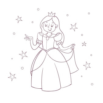 王女の子供のためのかわいいぬりえ