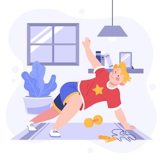 家庭のコンセプトで男のトレーニング