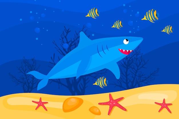 フラットなデザインの赤ちゃんサメ