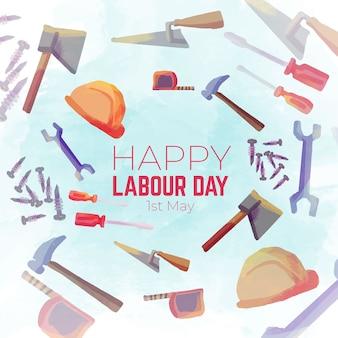 イラスト入りの水彩画の労働日の表現