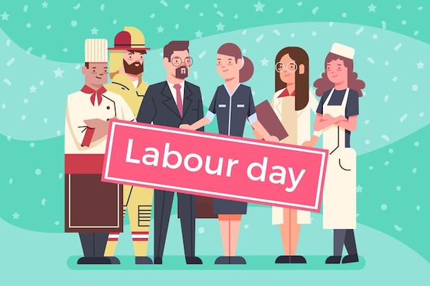 フラットデザインの労働者の日イベント