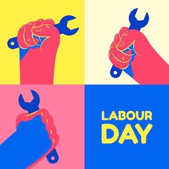 フラットスタイルの労働者の日イベント