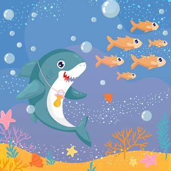 おしゃぶりを身に着けているスマイリー赤ちゃんサメ