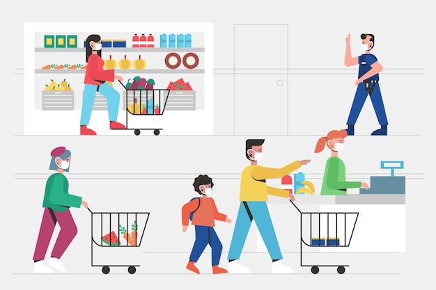 コロナウイルススーパーマーケットのイラスト