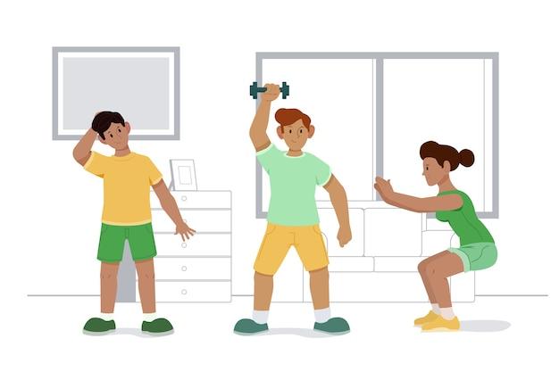 Приседания и упражнения с гантелями в помещении спорт