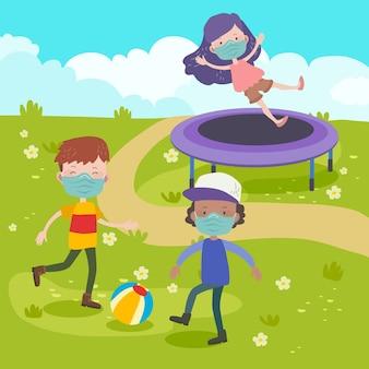 一緒に遊んでいる子供のグループ
