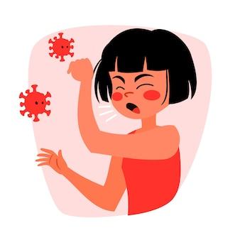咳女性コロナウイルスのコンセプト