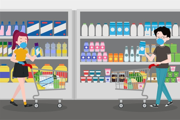 Люди в маске в супермаркете