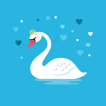 Лебедь в элегантной золотой короне и сердечках