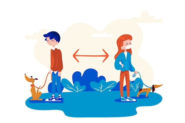 社会的距離概念の犬の散歩