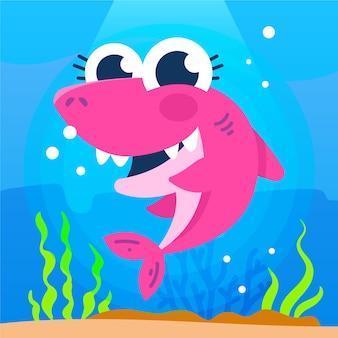 ピンクの赤ちゃんサメのかわいいイラスト