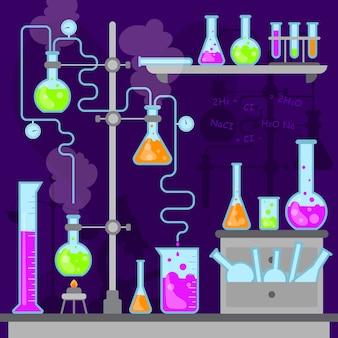 Плоский дизайн коллекции объектов научной лаборатории