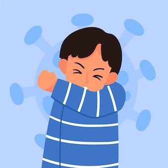 咳をする人のイラスト