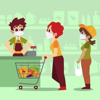 コロナウイルススーパーマーケットのデザイン