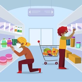 コロナウイルスのスーパーマーケットのテーマ
