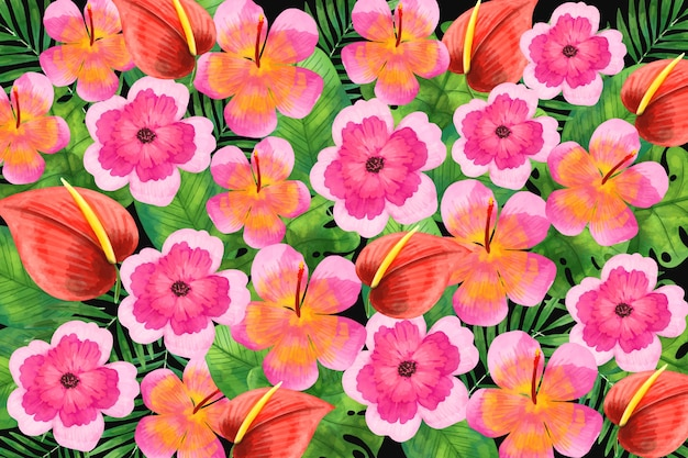 水彩画の花の背景のテーマ
